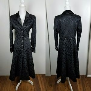 Elegant Black Brocade Trench Coat Vampire Gothic